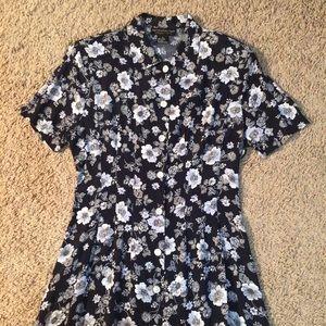 Metropolitan vintage blue floral shirt dress